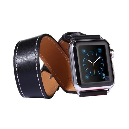 Kožený pásek / řemínek Double Circle pro Apple Watch 38mm černý Kožený pásek / řemínek Double Circle pro Apple Watch 38mm černý