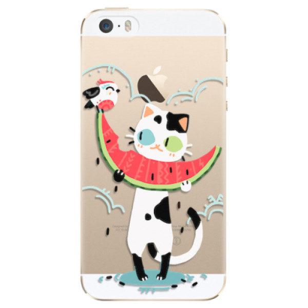Plastové pouzdro iSaprio – Cat with melon – iPhone 5/5S/SE Plastové pouzdro iSaprio – Cat with melon – iPhone 5/5S/SE