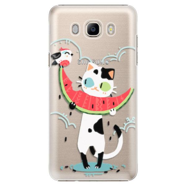 Plastové pouzdro iSaprio – Cat with melon – Samsung Galaxy J7 2016 Plastové pouzdro iSaprio – Cat with melon – Samsung Galaxy J7 2016