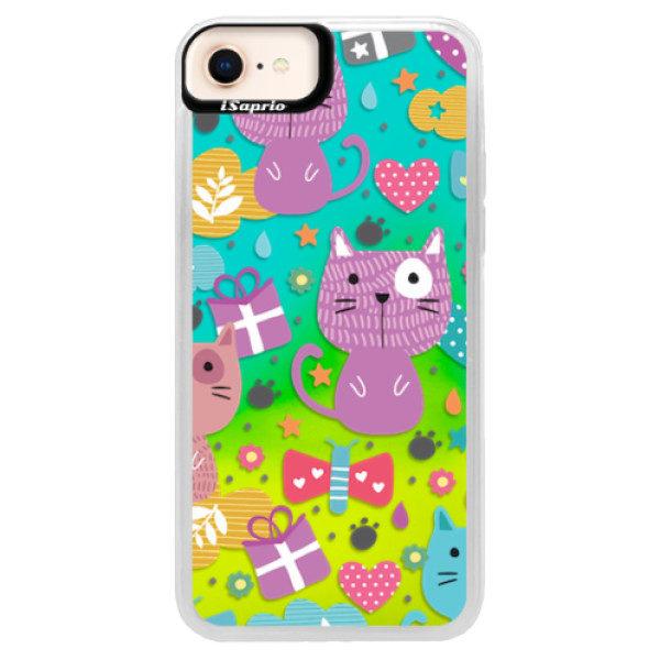 Neonové pouzdro Blue iSaprio – Cat pattern 01 – iPhone 8 Neonové pouzdro Blue iSaprio – Cat pattern 01 – iPhone 8
