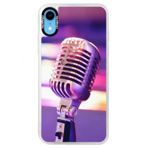 Neonové pouzdro Blue iSaprio – Vintage Microphone – iPhone XR Neonové pouzdro Blue iSaprio – Vintage Microphone – iPhone XR