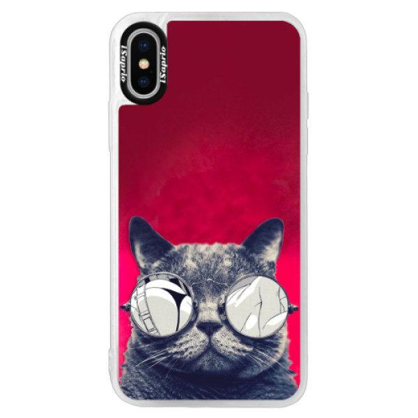 Neonové pouzdro Pink iSaprio – Crazy Cat 01 – iPhone X Neonové pouzdro Pink iSaprio – Crazy Cat 01 – iPhone X