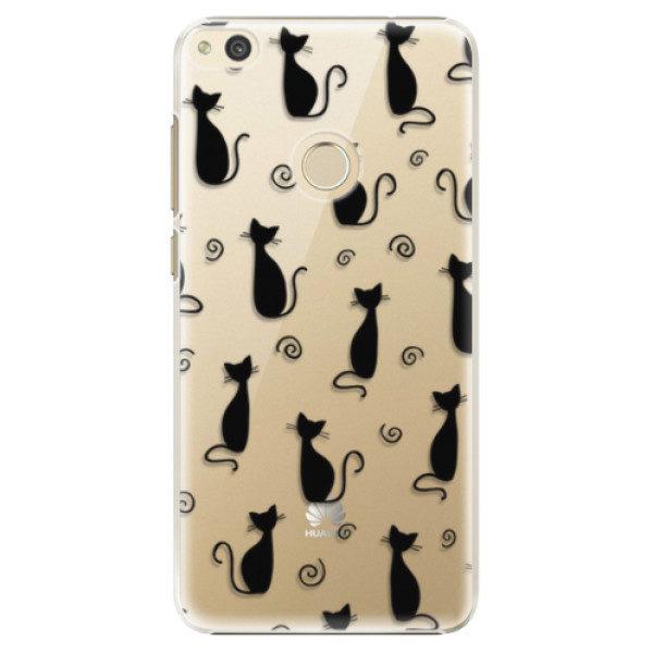 Plastové pouzdro iSaprio – Cat pattern 05 – black – Huawei P8 Lite 2017 Plastové pouzdro iSaprio – Cat pattern 05 – black – Huawei P8 Lite 2017