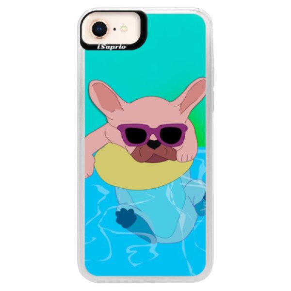 Neonové pouzdro Blue iSaprio – Swimming Dog – iPhone 8 Neonové pouzdro Blue iSaprio – Swimming Dog – iPhone 8