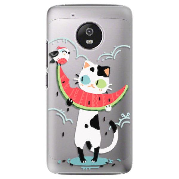 Plastové pouzdro iSaprio – Cat with melon – Lenovo Moto G5 Plastové pouzdro iSaprio – Cat with melon – Lenovo Moto G5