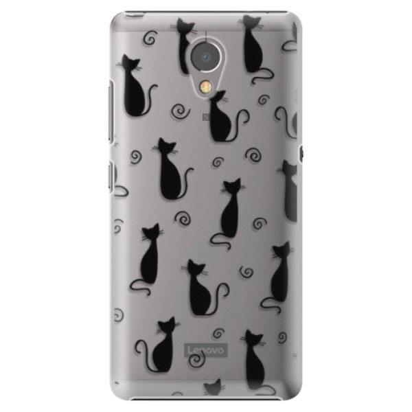 Plastové pouzdro iSaprio – Cat pattern 05 – black – Lenovo P2 Plastové pouzdro iSaprio – Cat pattern 05 – black – Lenovo P2