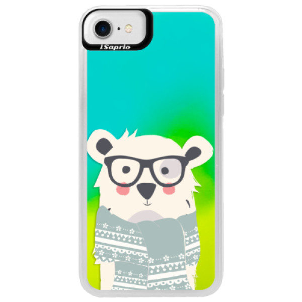 Neonové pouzdro Blue iSaprio – Bear with Scarf – iPhone 7 Neonové pouzdro Blue iSaprio – Bear with Scarf – iPhone 7