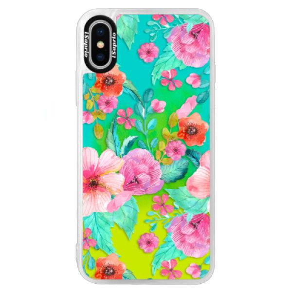 Neonové pouzdro Blue iSaprio – Flower Pattern 01 – iPhone XS Neonové pouzdro Blue iSaprio – Flower Pattern 01 – iPhone XS