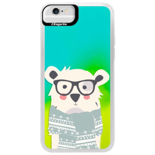 Neonové pouzdro Blue iSaprio – Bear with Scarf – iPhone 6/6S Neonové pouzdro Blue iSaprio – Bear with Scarf – iPhone 6/6S