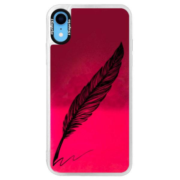 Neonové pouzdro Pink iSaprio – Writing By Feather – black – iPhone XR Neonové pouzdro Pink iSaprio – Writing By Feather – black – iPhone XR