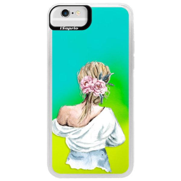 Neonové pouzdro Blue iSaprio – Girl with flowers – iPhone 6/6S Neonové pouzdro Blue iSaprio – Girl with flowers – iPhone 6/6S