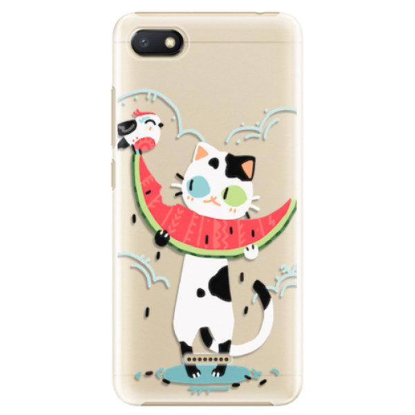 Plastové pouzdro iSaprio – Cat with melon – Xiaomi Redmi 6A Plastové pouzdro iSaprio – Cat with melon – Xiaomi Redmi 6A