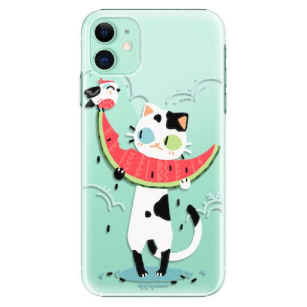 Plastové pouzdro iSaprio – Cat with melon – iPhone 11 Plastové pouzdro iSaprio – Cat with melon – iPhone 11