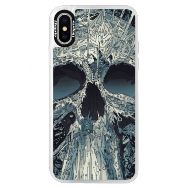 Neonové pouzdro Blue iSaprio – Abstract Skull – iPhone XS Neonové pouzdro Blue iSaprio – Abstract Skull – iPhone XS