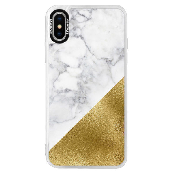 Neonové pouzdro Pink iSaprio – Gold and WH Marble – iPhone X Neonové pouzdro Pink iSaprio – Gold and WH Marble – iPhone X