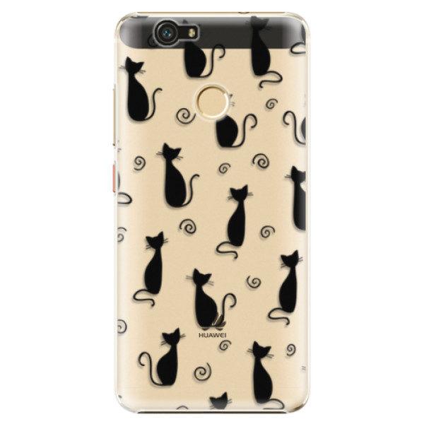 Plastové pouzdro iSaprio – Cat pattern 05 – black – Huawei Nova Plastové pouzdro iSaprio – Cat pattern 05 – black – Huawei Nova