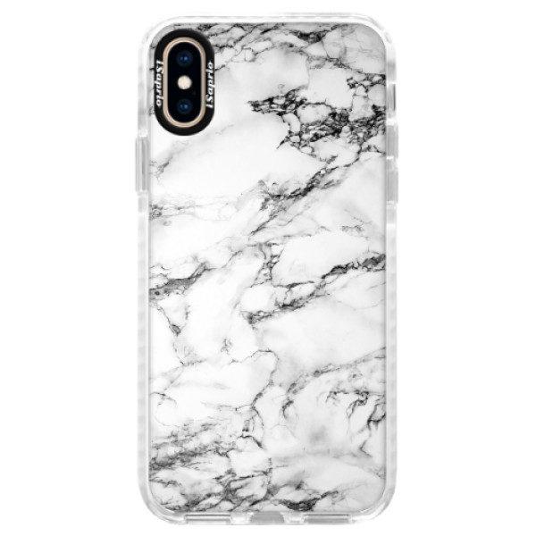 Silikonové pouzdro Bumper iSaprio – White Marble 01 – iPhone XS Silikonové pouzdro Bumper iSaprio – White Marble 01 – iPhone XS