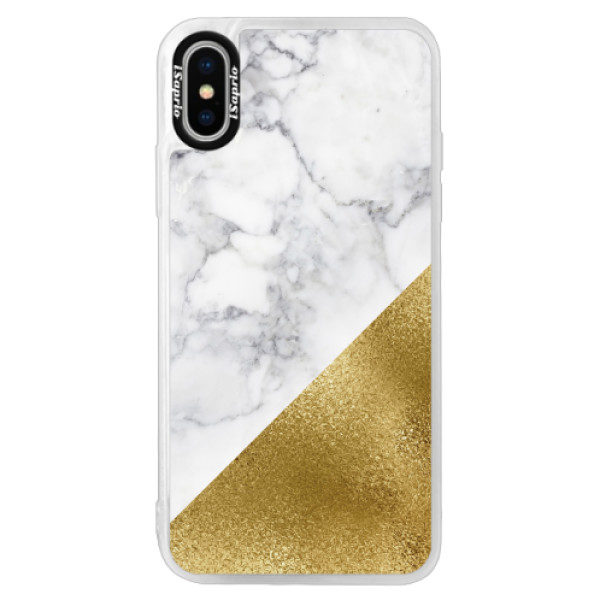 Neonové pouzdro Pink iSaprio – Gold and WH Marble – iPhone XS Neonové pouzdro Pink iSaprio – Gold and WH Marble – iPhone XS