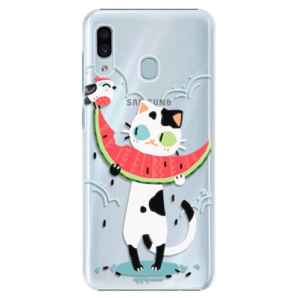 Plastové pouzdro iSaprio – Cat with melon – Samsung Galaxy A20 Plastové pouzdro iSaprio – Cat with melon – Samsung Galaxy A20