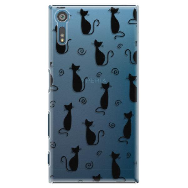 Plastové pouzdro iSaprio – Cat pattern 05 – black – Sony Xperia XZ Plastové pouzdro iSaprio – Cat pattern 05 – black – Sony Xperia XZ