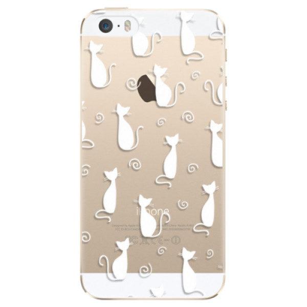 Plastové pouzdro iSaprio – Cat pattern 05 – white – iPhone 5/5S/SE Plastové pouzdro iSaprio – Cat pattern 05 – white – iPhone 5/5S/SE