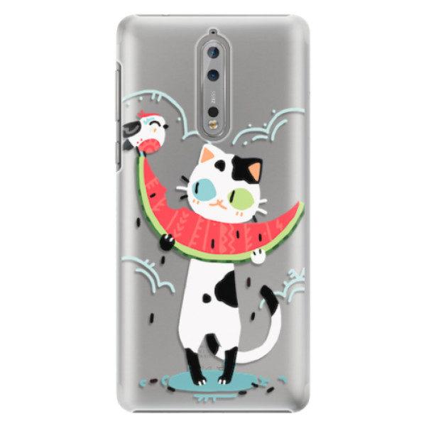Plastové pouzdro iSaprio – Cat with melon – Nokia 8 Plastové pouzdro iSaprio – Cat with melon – Nokia 8