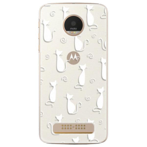 Plastové pouzdro iSaprio – Cat pattern 05 – white – Lenovo Moto Z Play Plastové pouzdro iSaprio – Cat pattern 05 – white – Lenovo Moto Z Play