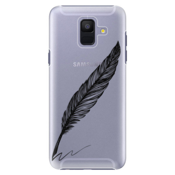 Plastové pouzdro iSaprio – Writing By Feather – black – Samsung Galaxy A6 Plastové pouzdro iSaprio – Writing By Feather – black – Samsung Galaxy A6
