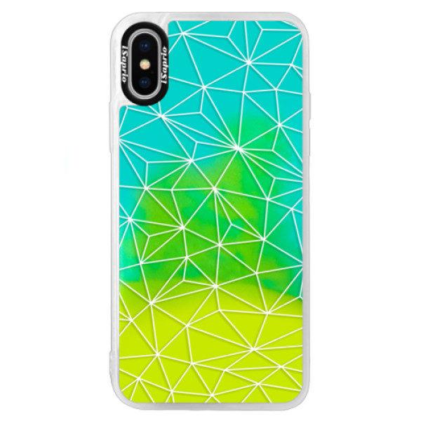 Neonové pouzdro Blue iSaprio – Abstract Triangles 03 – white – iPhone XS Neonové pouzdro Blue iSaprio – Abstract Triangles 03 – white – iPhone XS