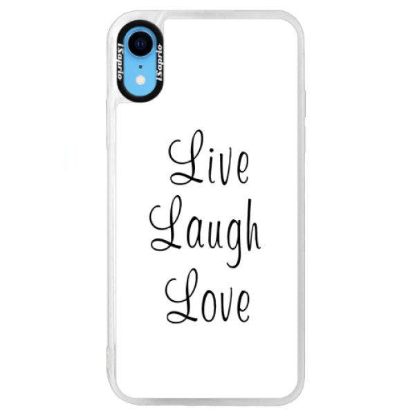 Neonové pouzdro Blue iSaprio – Live Laugh Love – iPhone XR Neonové pouzdro Blue iSaprio – Live Laugh Love – iPhone XR