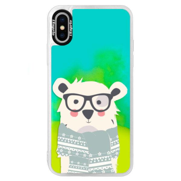 Neonové pouzdro Blue iSaprio – Bear with Scarf – iPhone XS Neonové pouzdro Blue iSaprio – Bear with Scarf – iPhone XS
