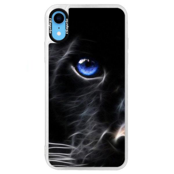 Neonové pouzdro Blue iSaprio – Black Puma – iPhone XR Neonové pouzdro Blue iSaprio – Black Puma – iPhone XR