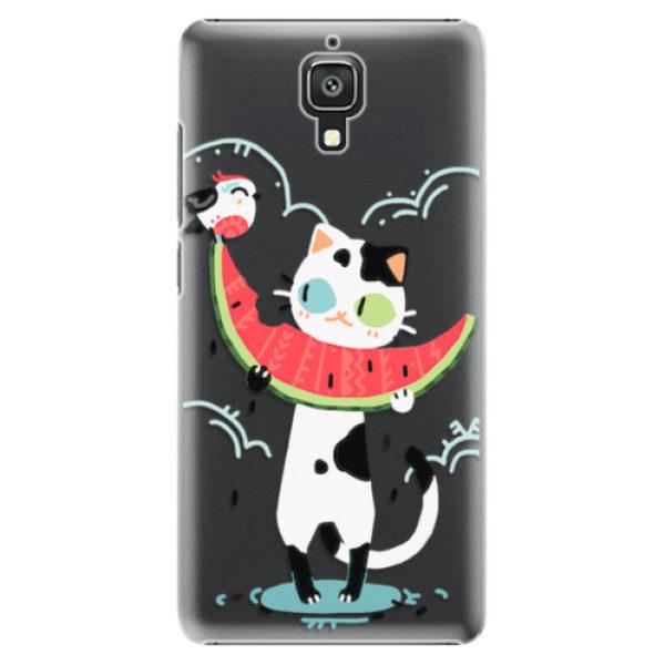 Plastové pouzdro iSaprio – Cat with melon – Xiaomi Mi4 Plastové pouzdro iSaprio – Cat with melon – Xiaomi Mi4