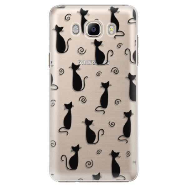 Plastové pouzdro iSaprio – Cat pattern 05 – black – Samsung Galaxy J7 2016 Plastové pouzdro iSaprio – Cat pattern 05 – black – Samsung Galaxy J7 2016