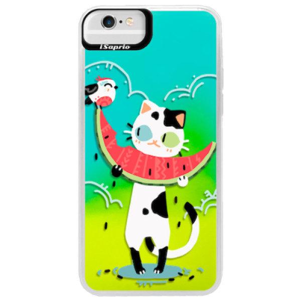 Neonové pouzdro Blue iSaprio – Cat with melon – iPhone 6 Plus/6S Plus Neonové pouzdro Blue iSaprio – Cat with melon – iPhone 6 Plus/6S Plus
