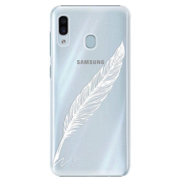 Plastové pouzdro iSaprio – Writing By Feather – white – Samsung Galaxy A20 Plastové pouzdro iSaprio – Writing By Feather – white – Samsung Galaxy A20