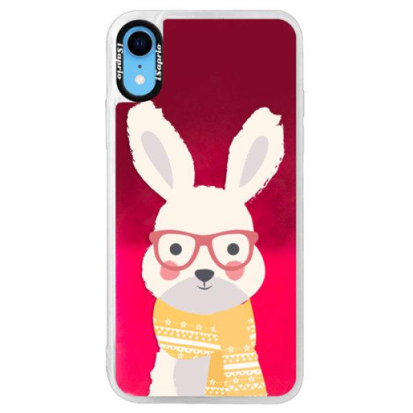Neonové pouzdro Pink iSaprio – Smart Rabbit – iPhone XR Neonové pouzdro Pink iSaprio – Smart Rabbit – iPhone XR
