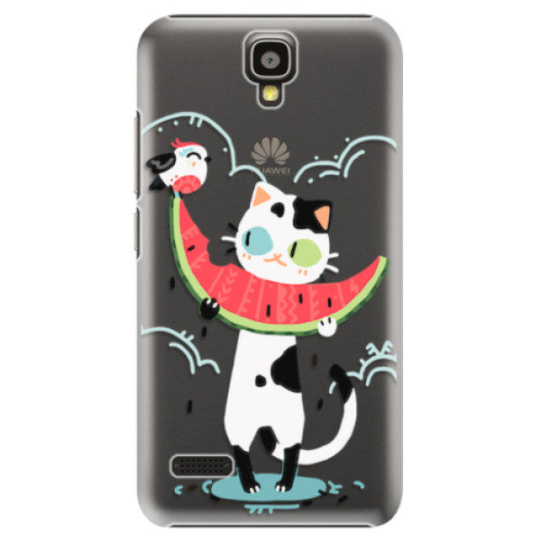 Plastové pouzdro iSaprio – Cat with melon – Huawei Ascend Y5 Plastové pouzdro iSaprio – Cat with melon – Huawei Ascend Y5