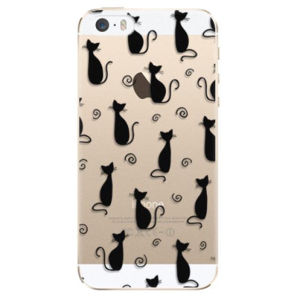 Plastové pouzdro iSaprio – Cat pattern 05 – black – iPhone 5/5S/SE Plastové pouzdro iSaprio – Cat pattern 05 – black – iPhone 5/5S/SE