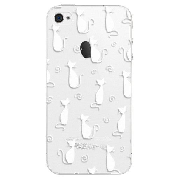 Plastové pouzdro iSaprio – Cat pattern 05 – white – iPhone 4/4S Plastové pouzdro iSaprio – Cat pattern 05 – white – iPhone 4/4S