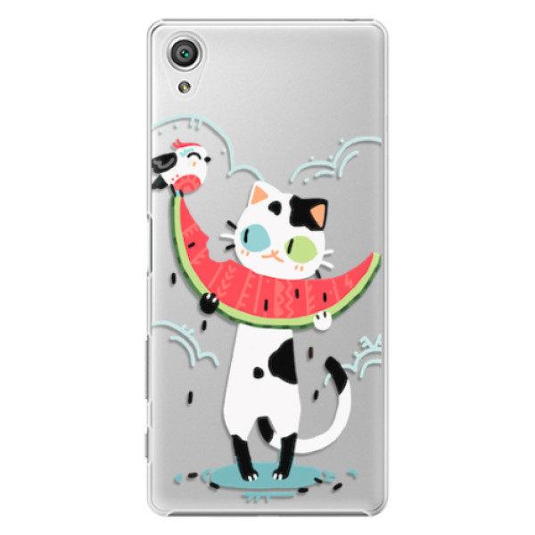 Plastové pouzdro iSaprio – Cat with melon – Sony Xperia X Plastové pouzdro iSaprio – Cat with melon – Sony Xperia X