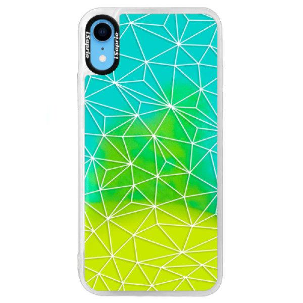 Neonové pouzdro Blue iSaprio – Abstract Triangles 03 – white – iPhone XR Neonové pouzdro Blue iSaprio – Abstract Triangles 03 – white – iPhone XR
