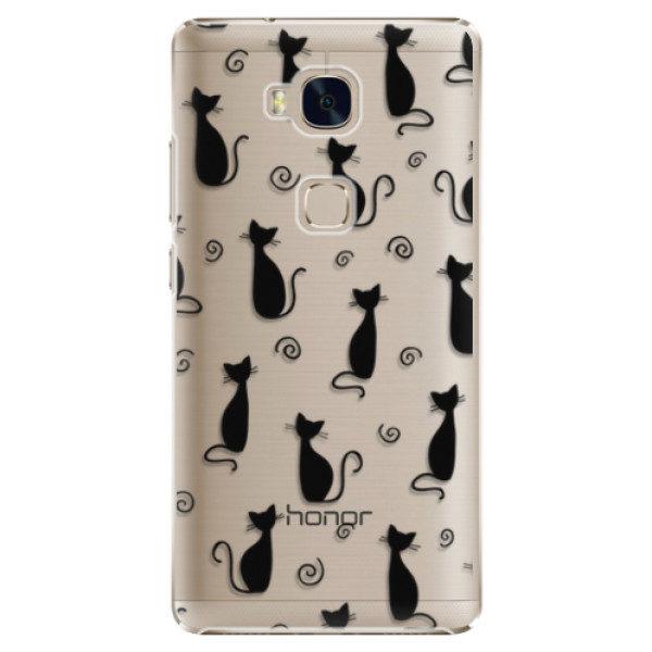 Plastové pouzdro iSaprio – Cat pattern 05 – black – Huawei Honor 5X Plastové pouzdro iSaprio – Cat pattern 05 – black – Huawei Honor 5X