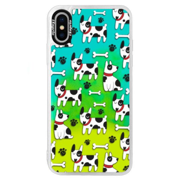 Neonové pouzdro Blue iSaprio – Dog 02 – iPhone XS Neonové pouzdro Blue iSaprio – Dog 02 – iPhone XS