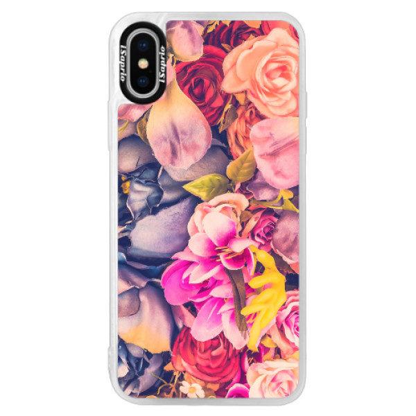 Neonové pouzdro Pink iSaprio – Beauty Flowers – iPhone XS Neonové pouzdro Pink iSaprio – Beauty Flowers – iPhone XS