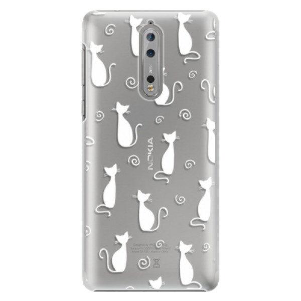 Plastové pouzdro iSaprio – Cat pattern 05 – white – Nokia 8 Plastové pouzdro iSaprio – Cat pattern 05 – white – Nokia 8