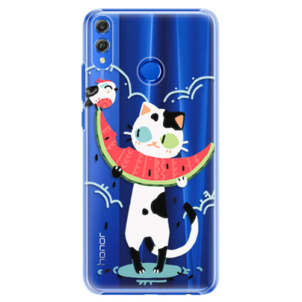 Plastové pouzdro iSaprio – Cat with melon – Huawei Honor 8X Plastové pouzdro iSaprio – Cat with melon – Huawei Honor 8X