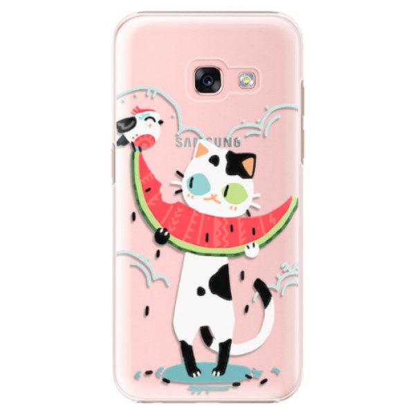 Plastové pouzdro iSaprio – Cat with melon – Samsung Galaxy A3 2017 Plastové pouzdro iSaprio – Cat with melon – Samsung Galaxy A3 2017