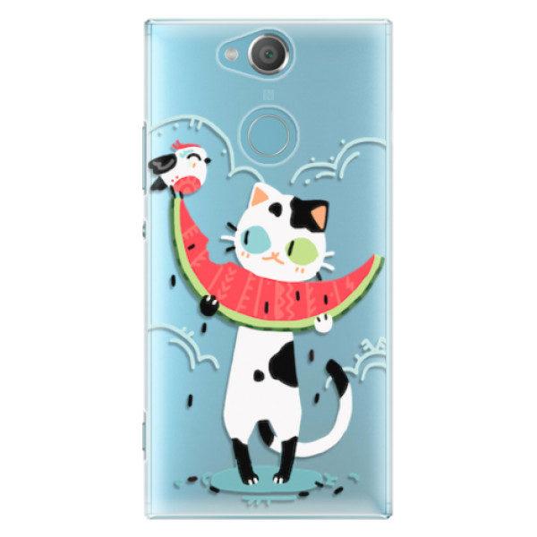 Plastové pouzdro iSaprio – Cat with melon – Sony Xperia XA2 Plastové pouzdro iSaprio – Cat with melon – Sony Xperia XA2