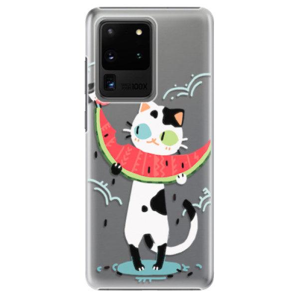 Plastové pouzdro iSaprio – Cat with melon – Samsung Galaxy S20 Ultra Plastové pouzdro iSaprio – Cat with melon – Samsung Galaxy S20 Ultra